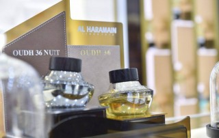 best oud perfumes in gcc, oudh 36, oudh 36 nuit on display at al haramain perfumes seef mall bahrain showroom launch