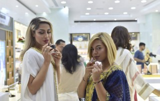glitz and glamour at the al haramain perfumes seef mall showroom launch in manama, bahrain in May 2018
