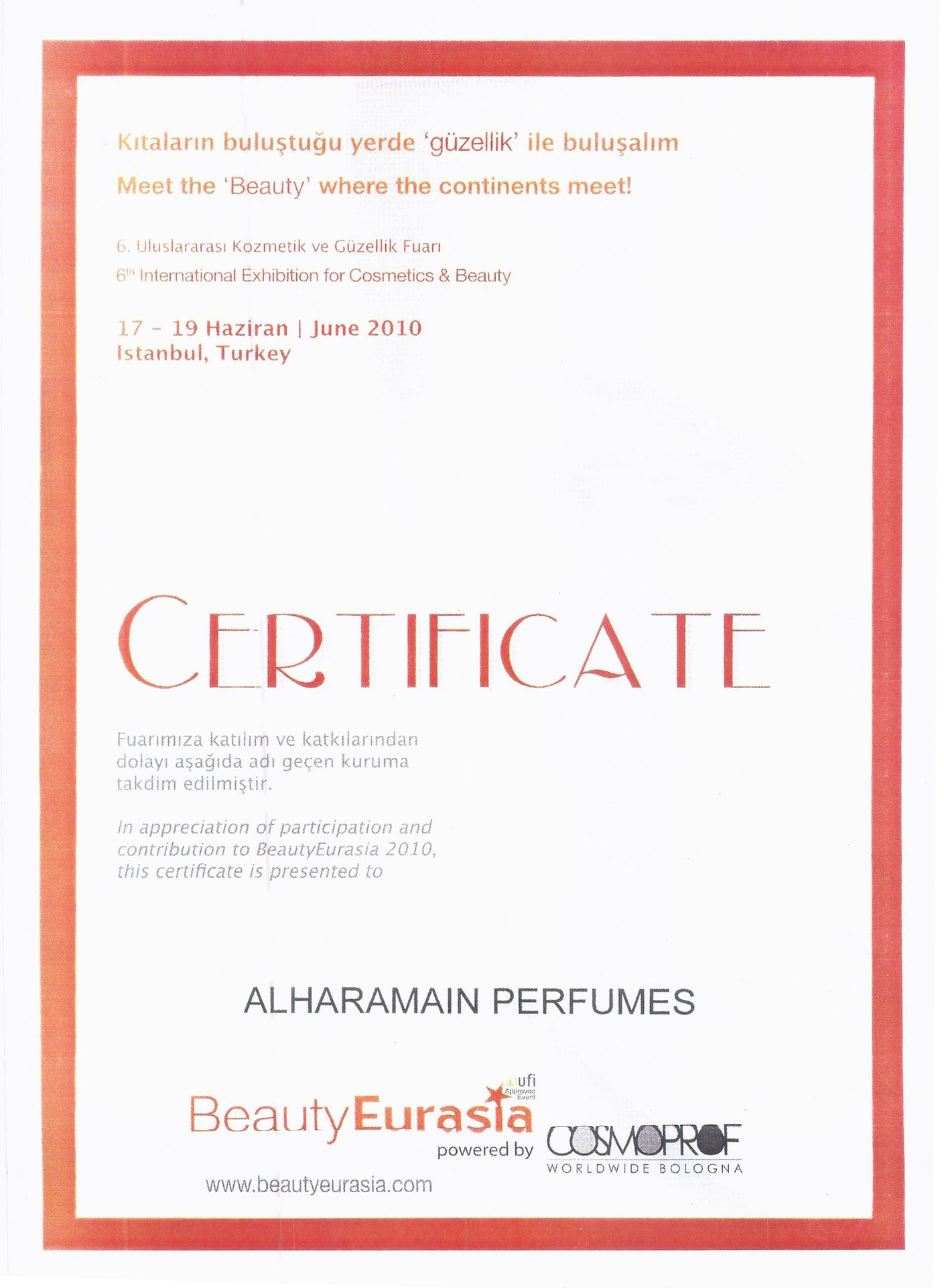 al haramain perfumes 2010 beauty eurasia certificate of participation & contribution