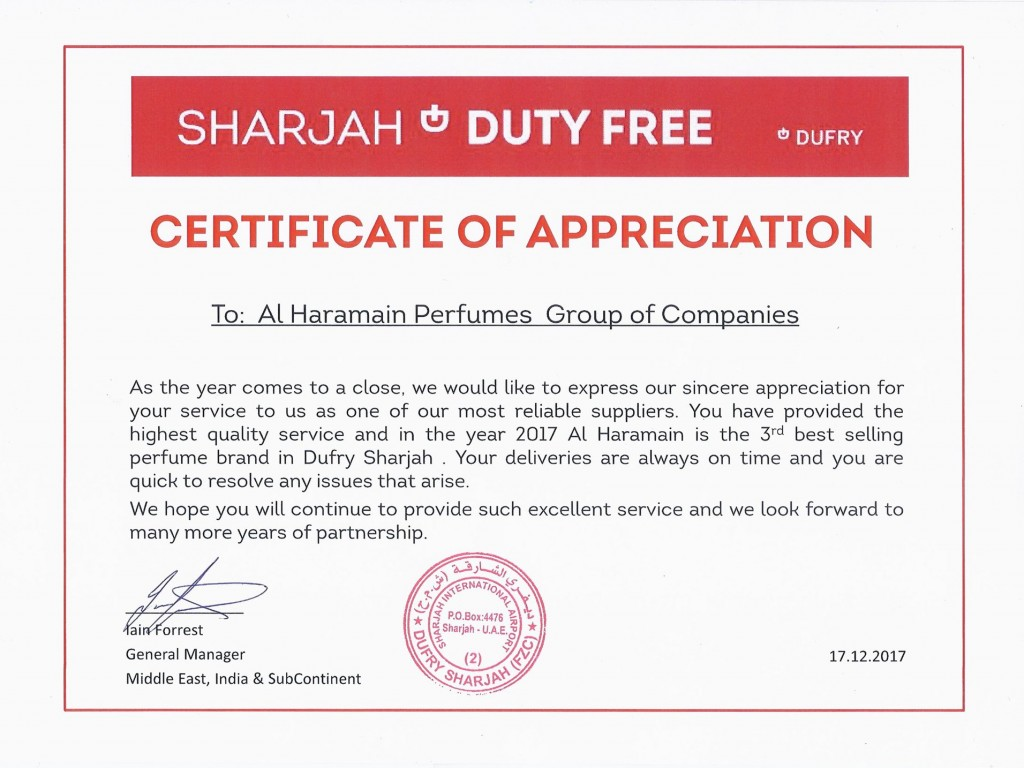 dufry sharjah duty free certificate of appreciation to al haramain perfumes llc