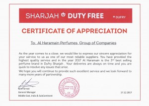 dufry-sharjah-duty-free-certificate-of-appreciation-to-al-haramain-perfumes