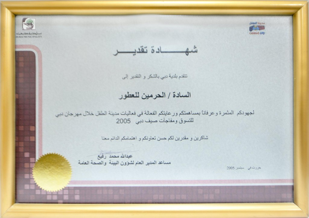 dubai nmunicipality appreciation certificate