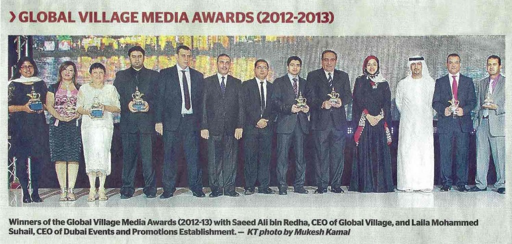 winners of the global village media awards 2012-2013 as seen in Khaleej Times